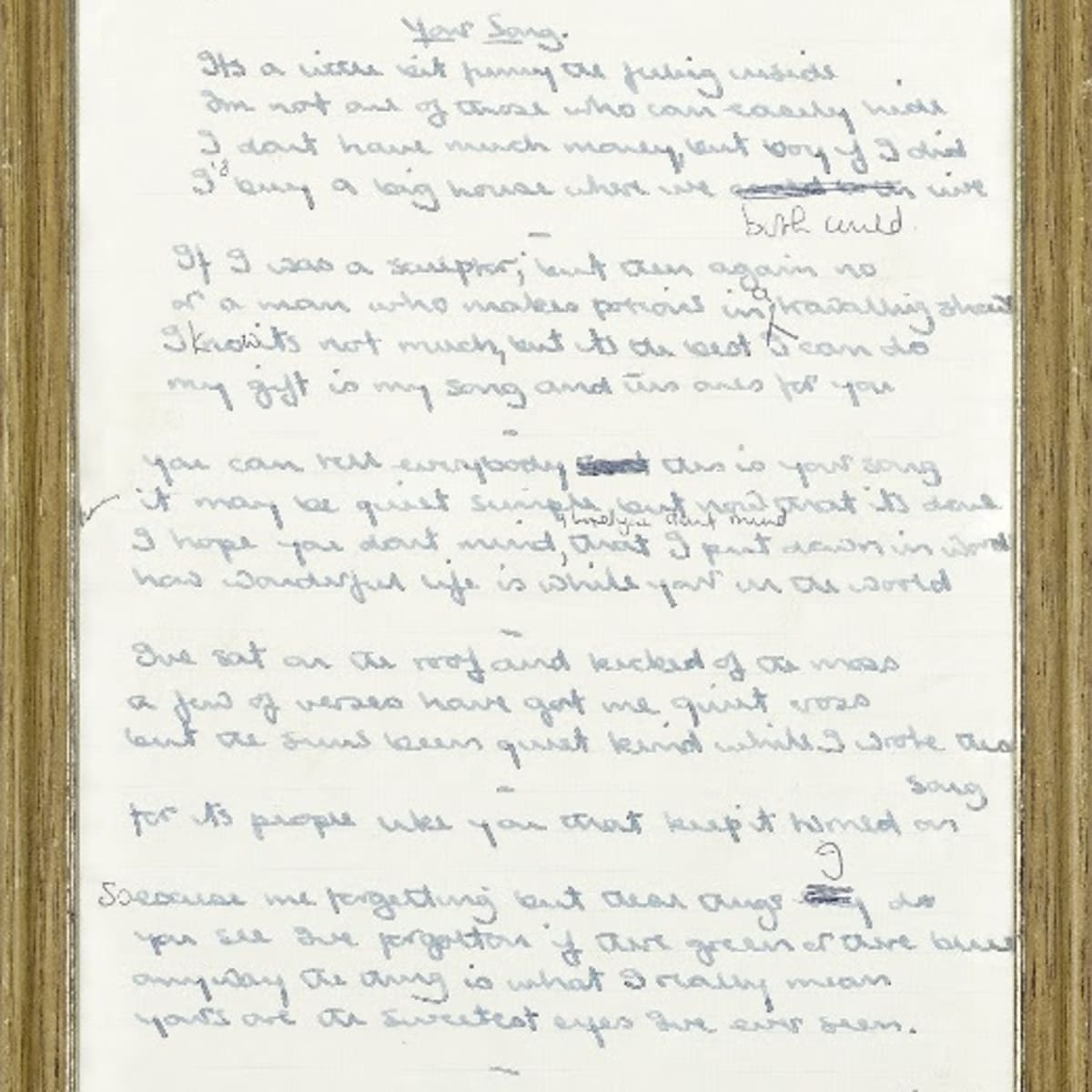 The Original Handwritten Lyrics For Elton John S Your Song Up For Sale Goldmine Magazine Record Collector Music Memorabilia