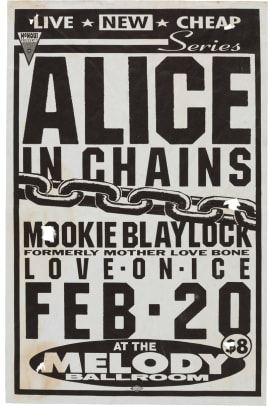 SOLD $1,125 Alice in Chains-Mookie Blaylock Melody Ballroom Concert Poster (1991)