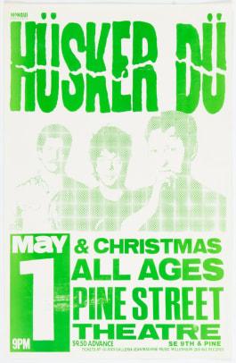 SOLD $179 Hüsker Dü-Christmas Pine Street Theatre Concert Poster Signed by Designer Mike King (1987)