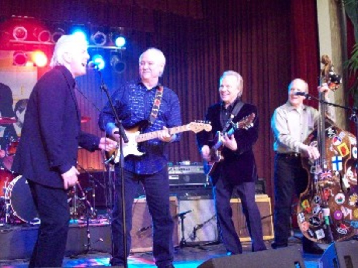 """Graham Nash, The Crickets and Bobby Vee (third from the left) rock the night away in Clear Lake, Iowa, Feb. 2, 2009, at the """"50 Winters Later"""" event honoring the 50th anniversary of the final Winter Dance Party show for Buddy Holly, Ritchie Valens and the Big Bopper, before the Feb. 3, 1959 plane crash that took their lives. (Craig Moore)"""