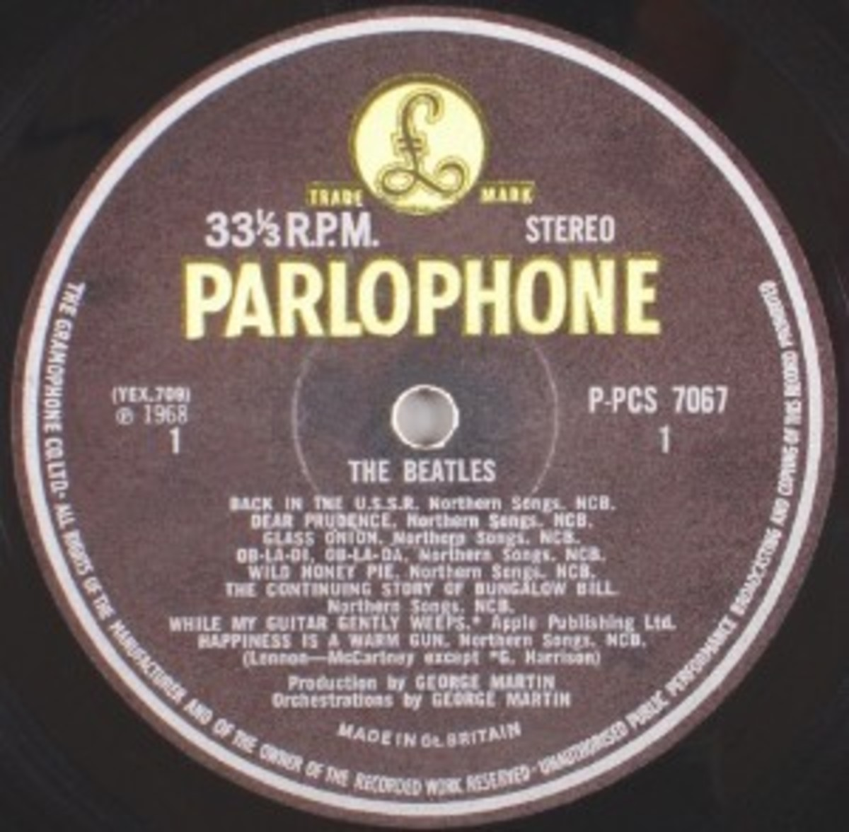 The Beatles (Parlophone P-PCS 7067)