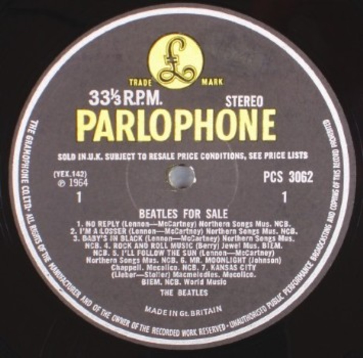 Beatles for Sale (Parlophone PCS 3062) 1964