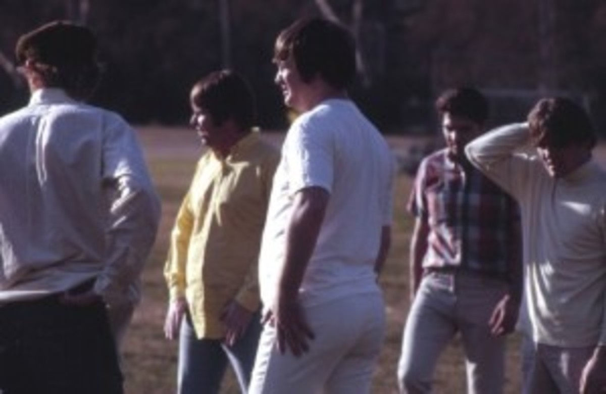 The Beach Boys play football. Courtesy of Endless Summer Quarterly/collection of Brian Berry.