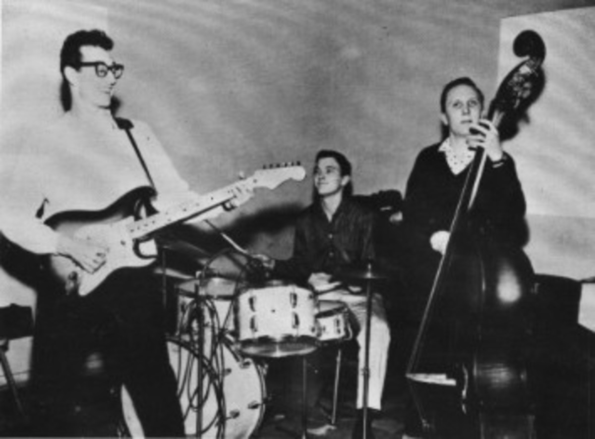 Buddy Holly and The Crickets jam in this vintage photograph from the group's heyday. Musicologist Bill Griggs recalls the group playing louder than others of the time. Photo: Universal Music Archives.