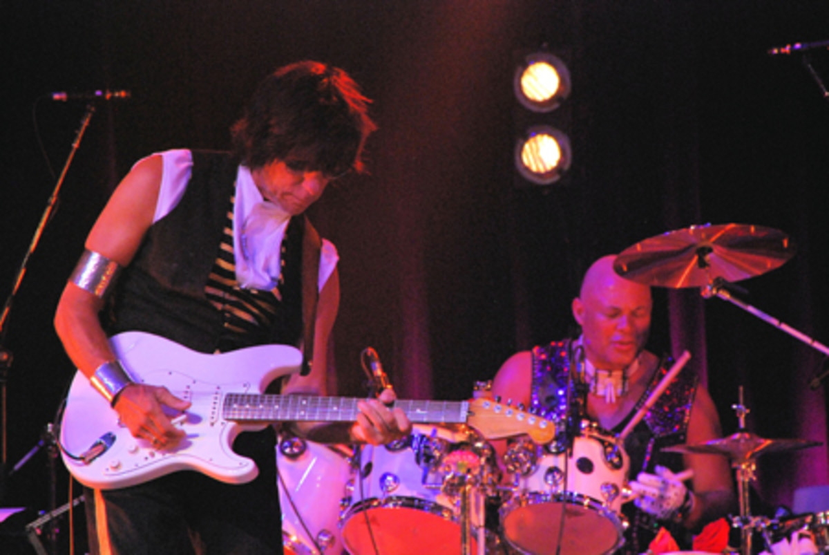 Jeff Beck (left) and Narada Michael Walden are shown performing June 5 at the Borgata in Atlantic City. (Photo by Chris M. Junior)