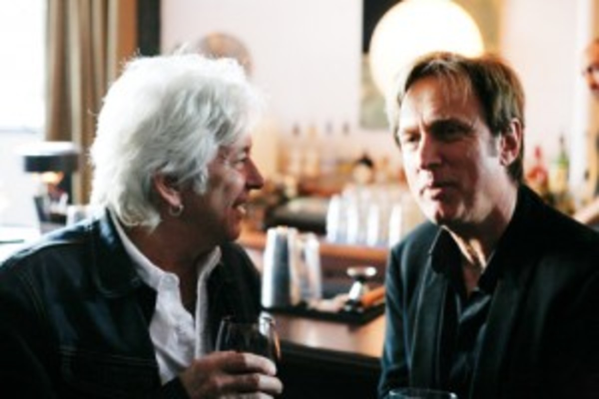This photo of Michael Kurtz (right) with the late Ian McLagan was taken May 2014 in Los Angeles at a Record Store Day celebratory dinner. Photo by Dennie Chong from the Hawaiian record store Hungry Ear.