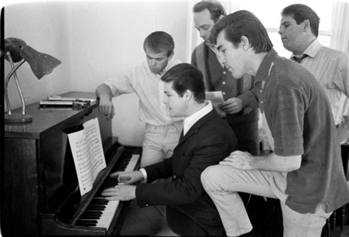 Beach Boys at piano Capitol Photo Archives