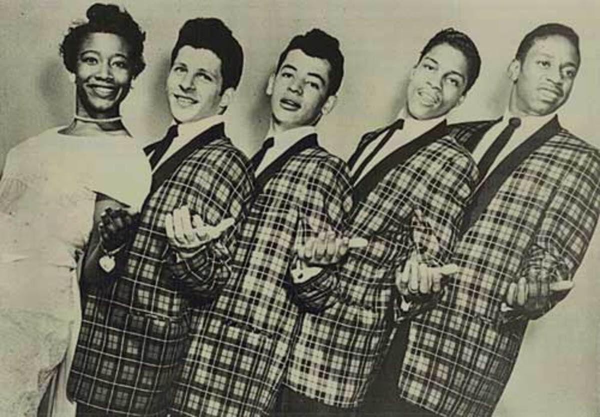 The Crests' lineup in the late 1950s featured (from left) Patricia Van Dross, Johnny Maestro, Harold Torres, Talmadge (Tommy) Gough and J.L. Carter.