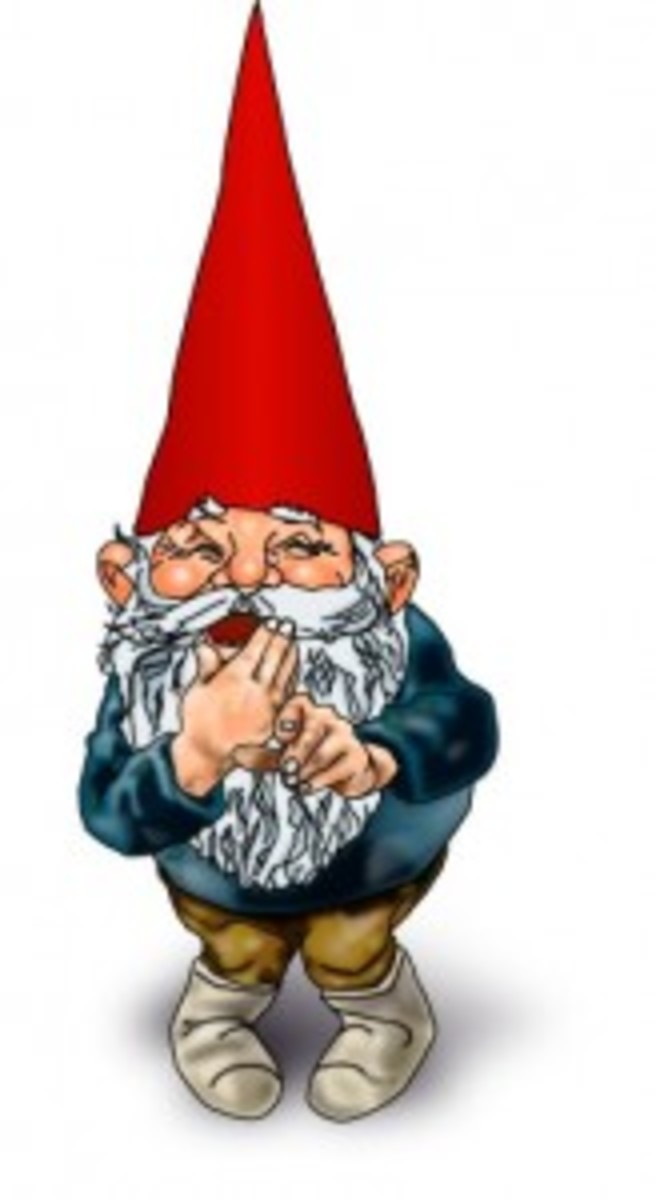 A gnome, laughing.