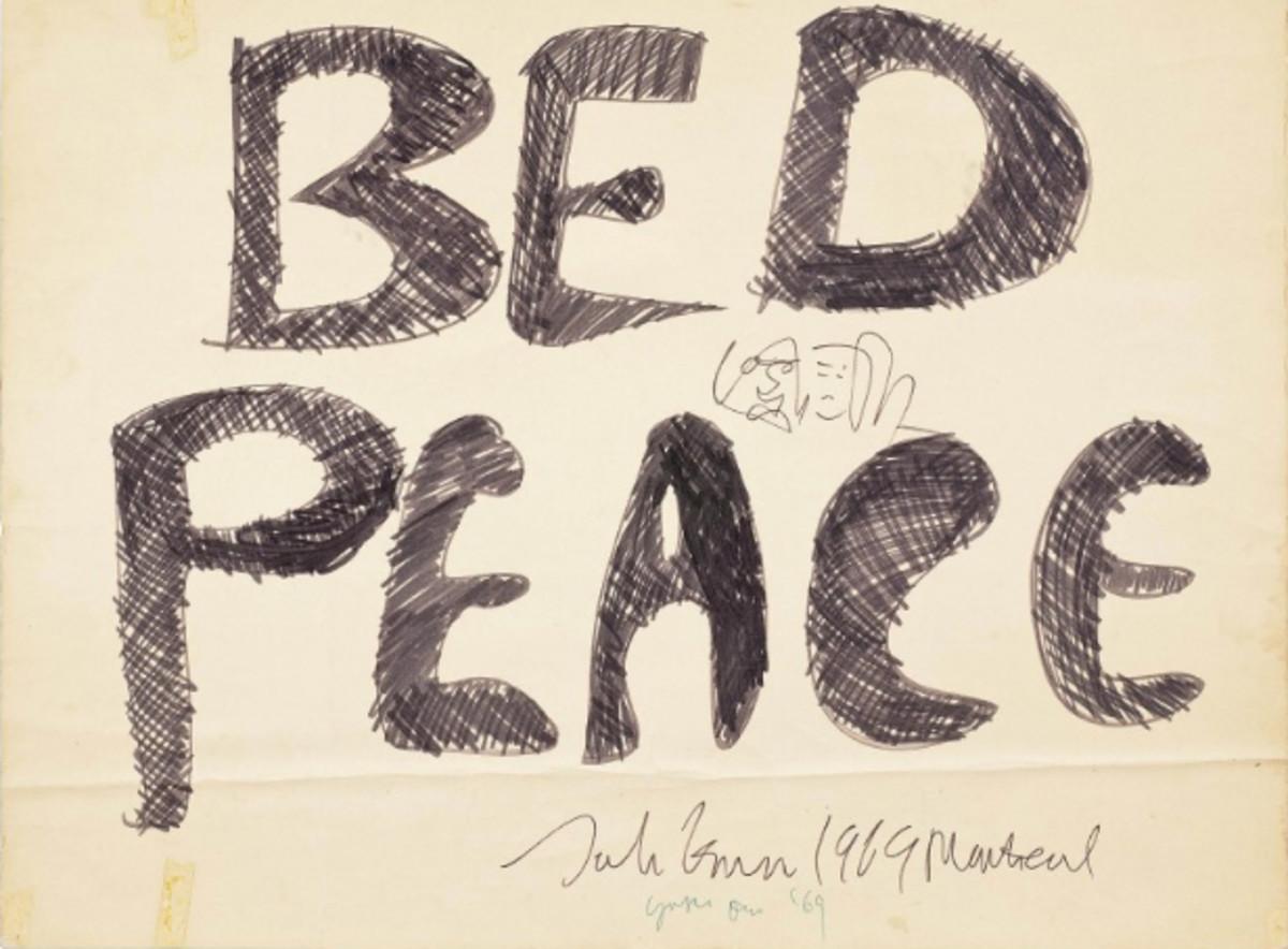 Lennon Ono Bed Peace Placard
