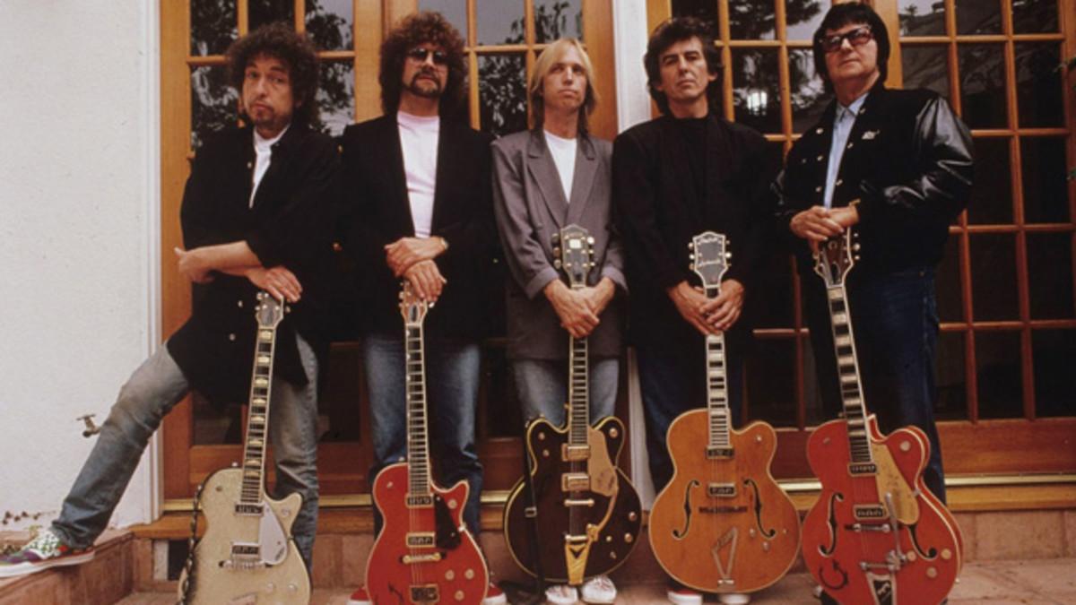 Traveling Wilburys publicity photo Bob Dylan, Jeff Lynne, Tom Petty, George Harrison, Roy Orbison