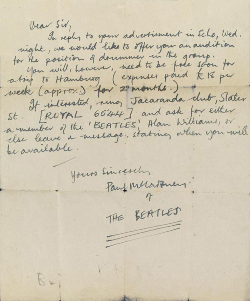 Paul McCartney letter to drummer