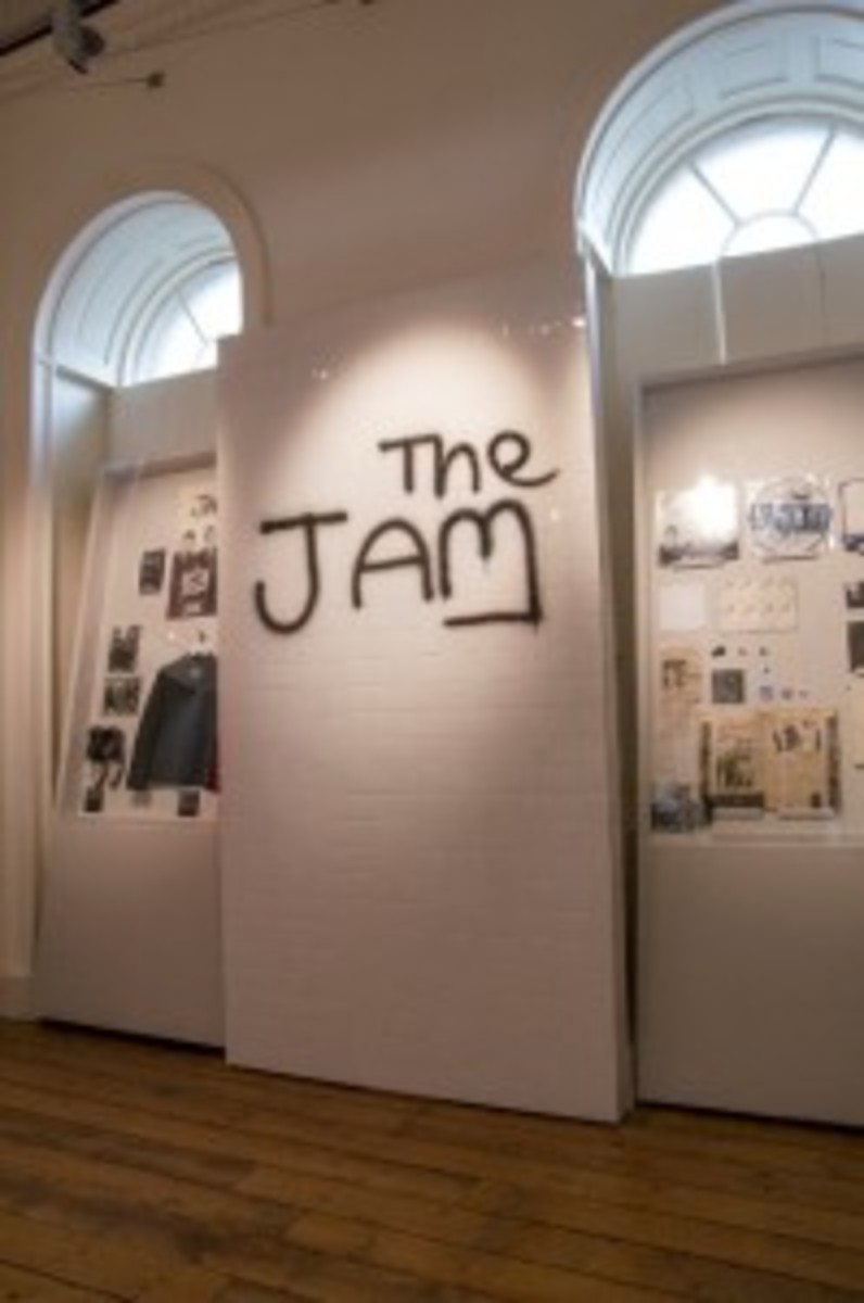 The Jam graffiti wall that is a featured part of the exhibition at London's Somerset House and a popular spot for photos by exhibition attendees is pictured here. (Photo by Dean Fardell for Nicetime Productions)