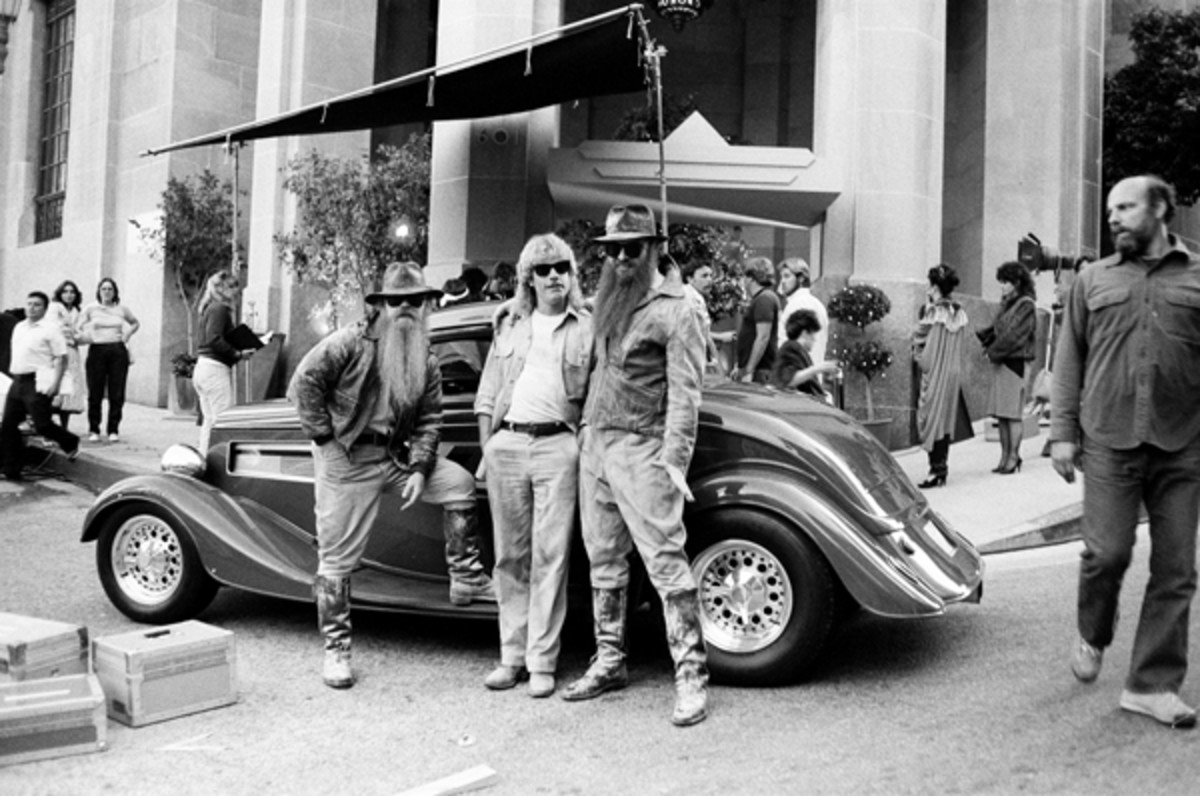 Rare photo of ZZ Top on the set during production of one of their '80s videos. Photo by Robert Alford.