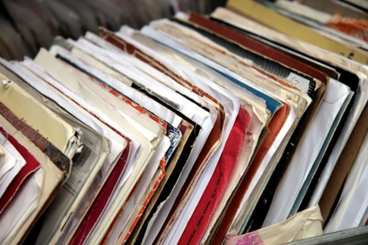 vinyl records in bin