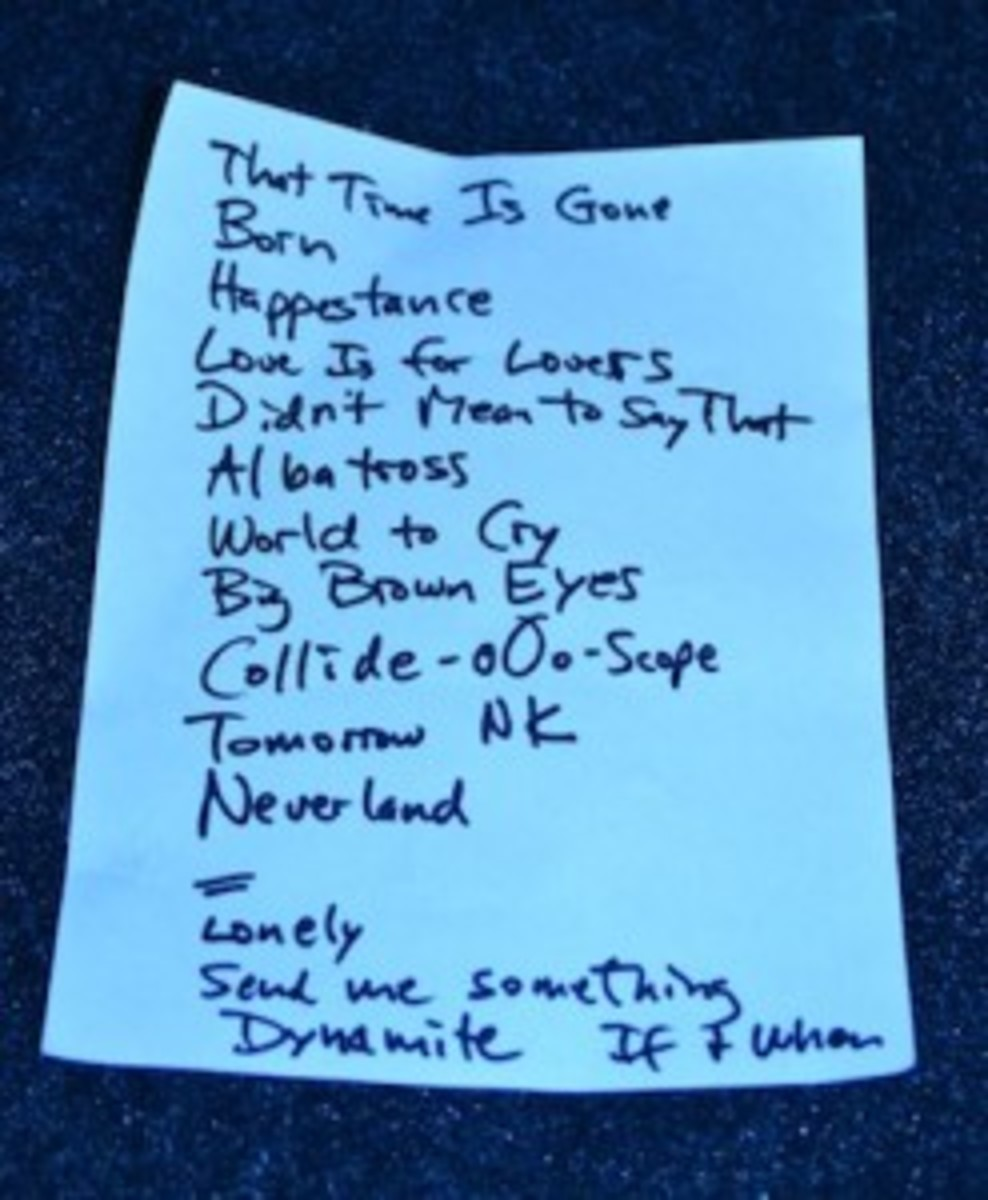 Chris Stamey's set list from the March 16 dB's showcase at BD Riley's. (Photo by Chris M. Junior)