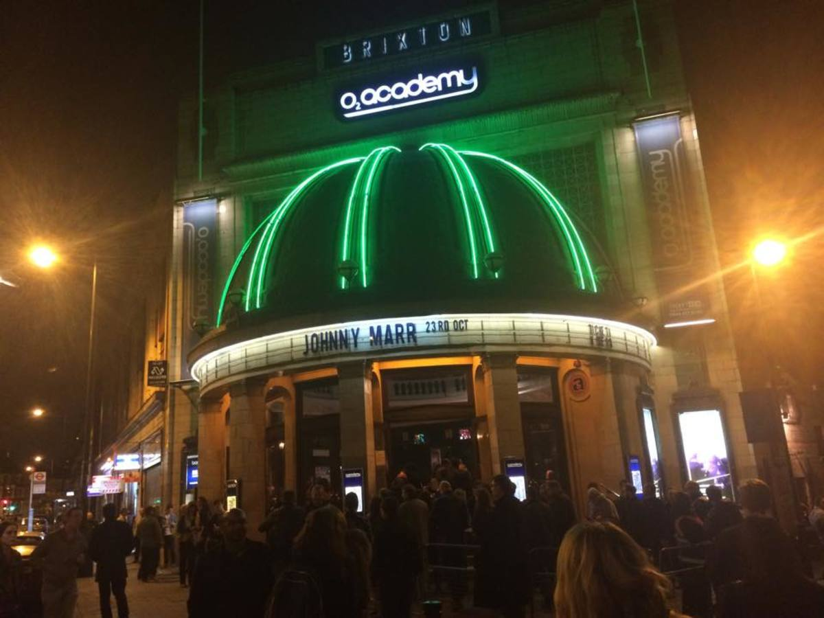 Excited audience members file into the O2 Brixton Academy in London for Johnny Marr's show on Thursday, October 23rd.