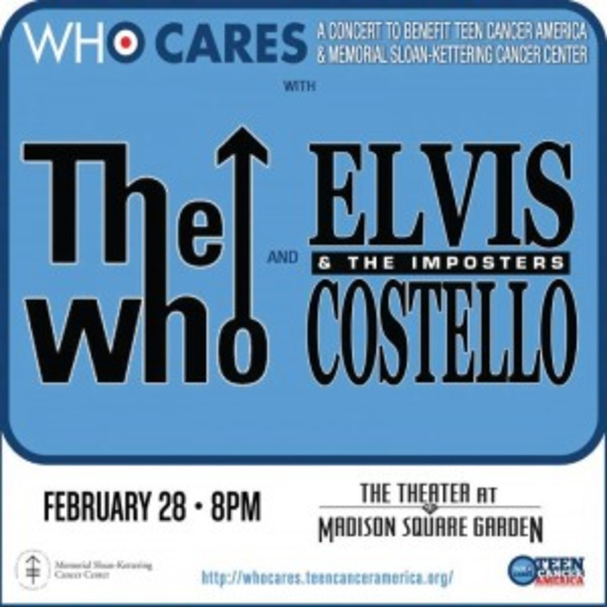 The Who and Elvis Costello and The Imposters performed a great night of music at NYC's Theater at Madison Square Garden on February 28th in aid of Teen Cancer America and Memorial Sloan-Kettering Cancer Center.