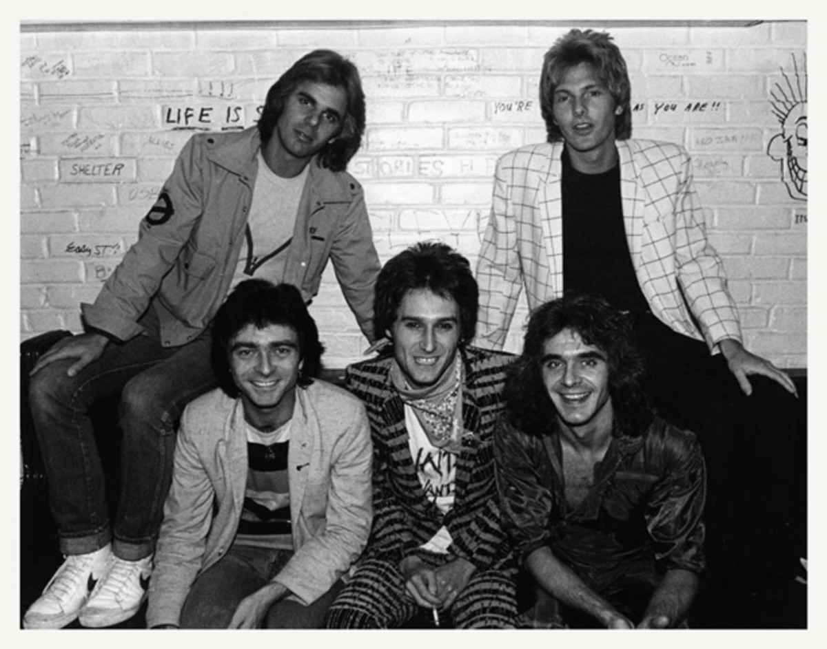 """The Babys' second lineup, backstage on the """"Union Jacks"""" tour in 1980. Photo courtesy Mark Perkins Collection."""