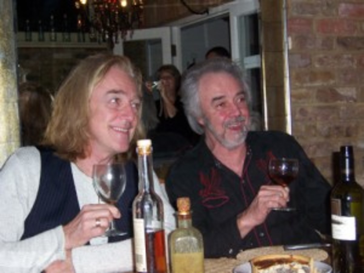"After scoring a hit with ""In the Summertime"" with Mungo Jerry, Colin Earl, right, did some touring with his brother Roger, drummer for Foghat. Here the two brothers are seen sharing a dinner in 2005."