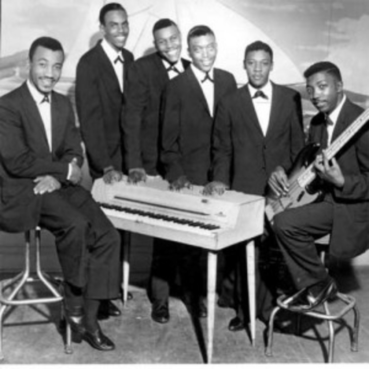 "The Zodiacs (1960) were (from left): Maurice Williams, Wiley Bennett, Henry ""Shane"" Gaston, Charles ""Frog"" Thomas, Willie Morrow and Albert Hill. Photo courtesy Maurice Williams"