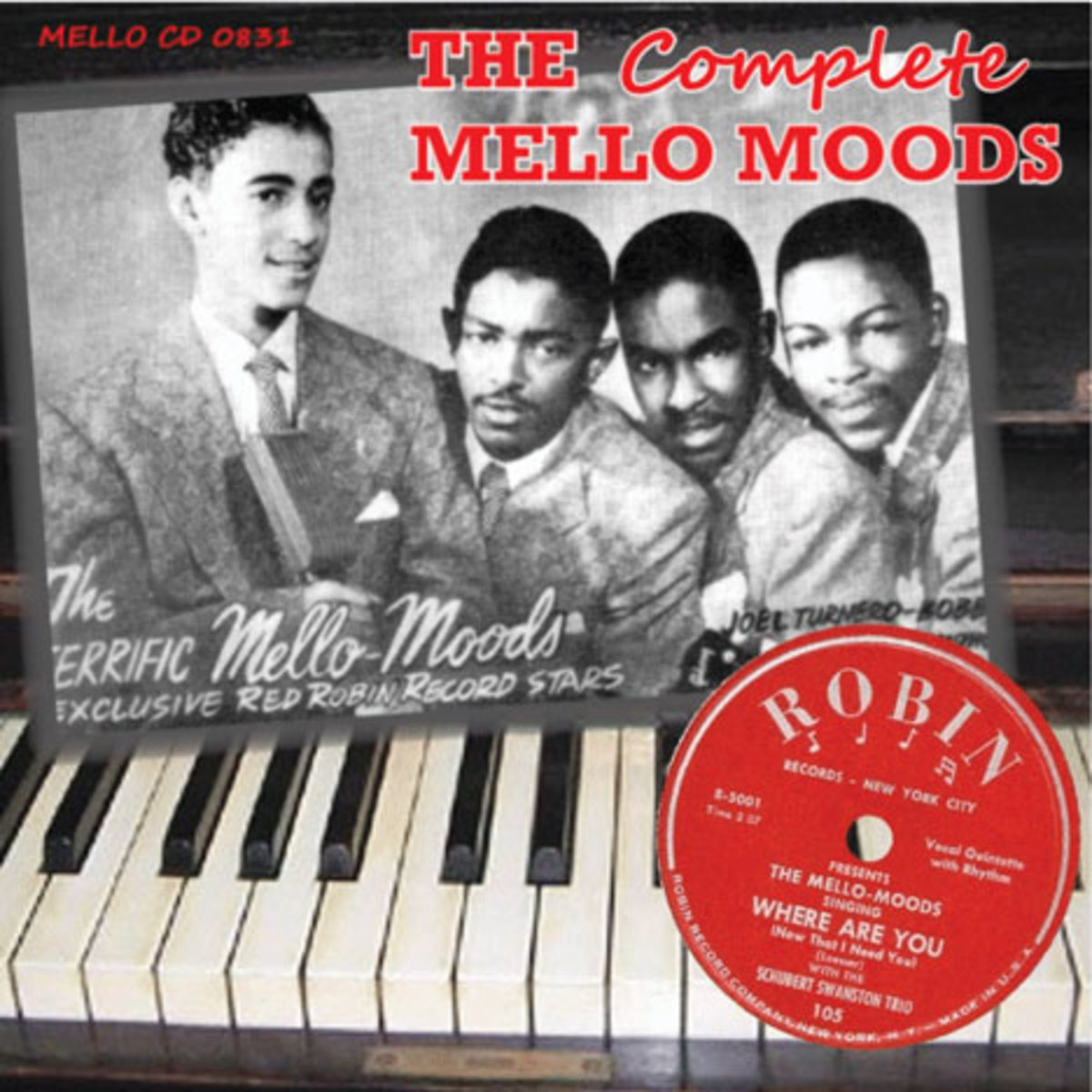 The cover of The Mello-Moods' CD release features a previously unpublished 1952 photo of the group: (from left) Raymond Wooten, Jim Bethea, Bobby Williams, and Monte Owens.