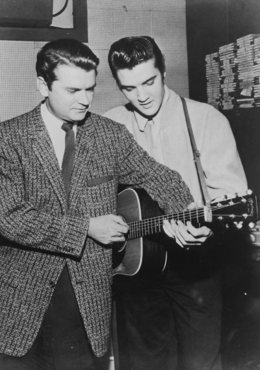 Sun Records' owner Sam Phillips and Elvis Presley hang out Dec. 4, 1956, the day of the Million Dollar Quartet jam session. Photo courtesy Sam Phillips/Peter Jones Productions/A&E.