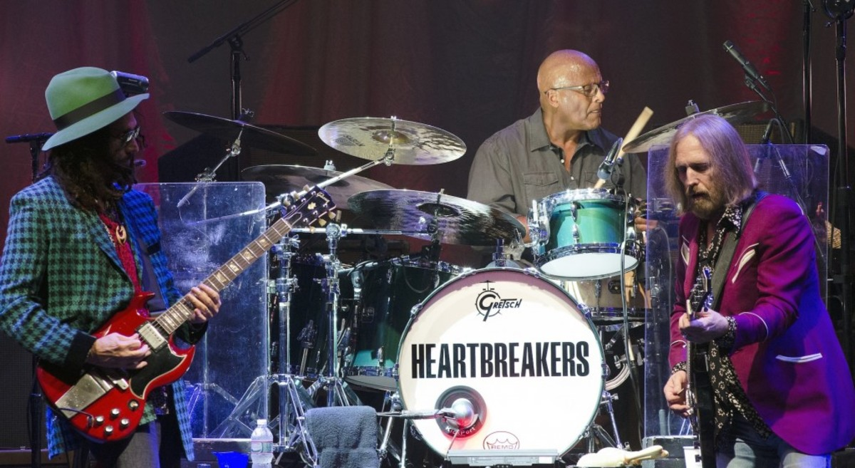 From left to right: Mike Campbell, Steve Ferrone and Tom Petty in action Sept. 11 at PNC Bank Arts Center in Holmdel, N.J. (Photo by Chris M. Junior)