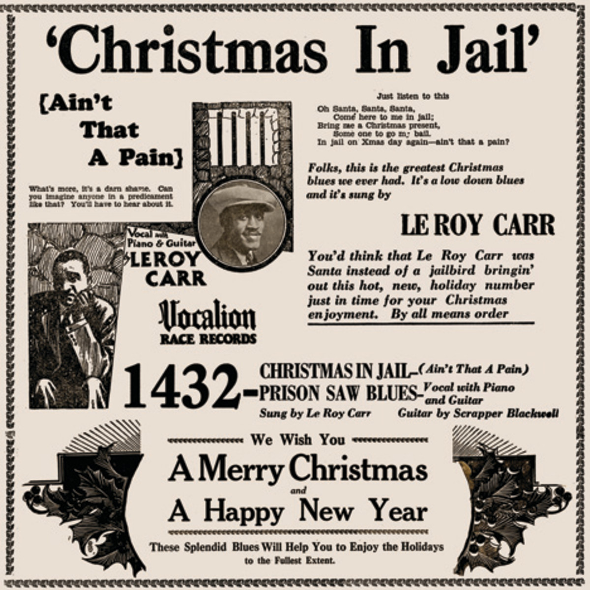 Leroy Carr Christmas In Jail Vocalion 1432