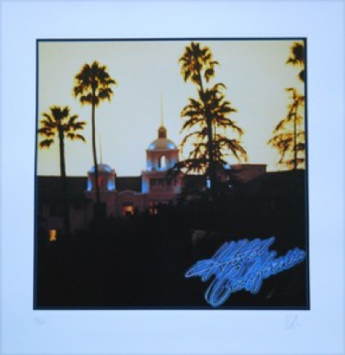"The iconic album art of ""Hotel California."" Print courtesy of www.rockpopgallery.com. © 1976, KOSH. All rights reserved."