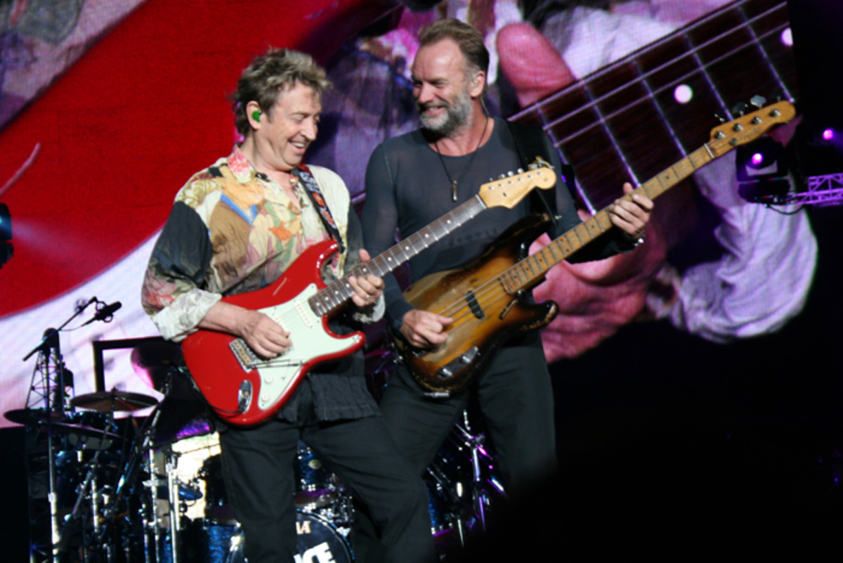 Andy Summers and Sting performing in 2007 on The Police reunion tour. Photo by Norman Golightly