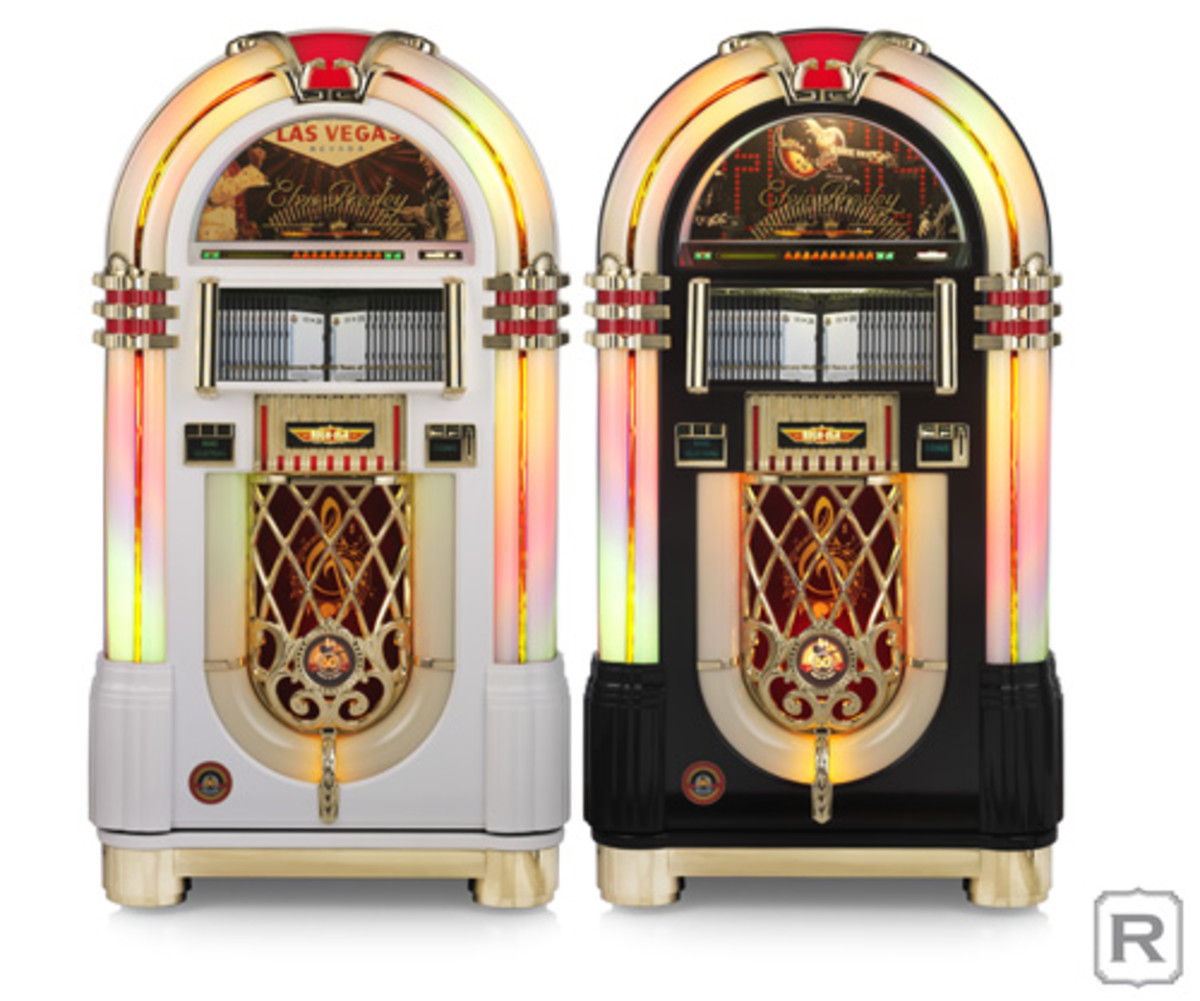 """""""Elvis Presley 60th Anniversary of Rock n' Roll 1954-2014"""" jukeboxes come in two distinct finishes: either a piano-black or piano-white finish with a gold-colored metal trim and base. The jukeboxes are limited-edition items, as only 99 of each color variety were made. Photo courtesy of Rock-Ola."""