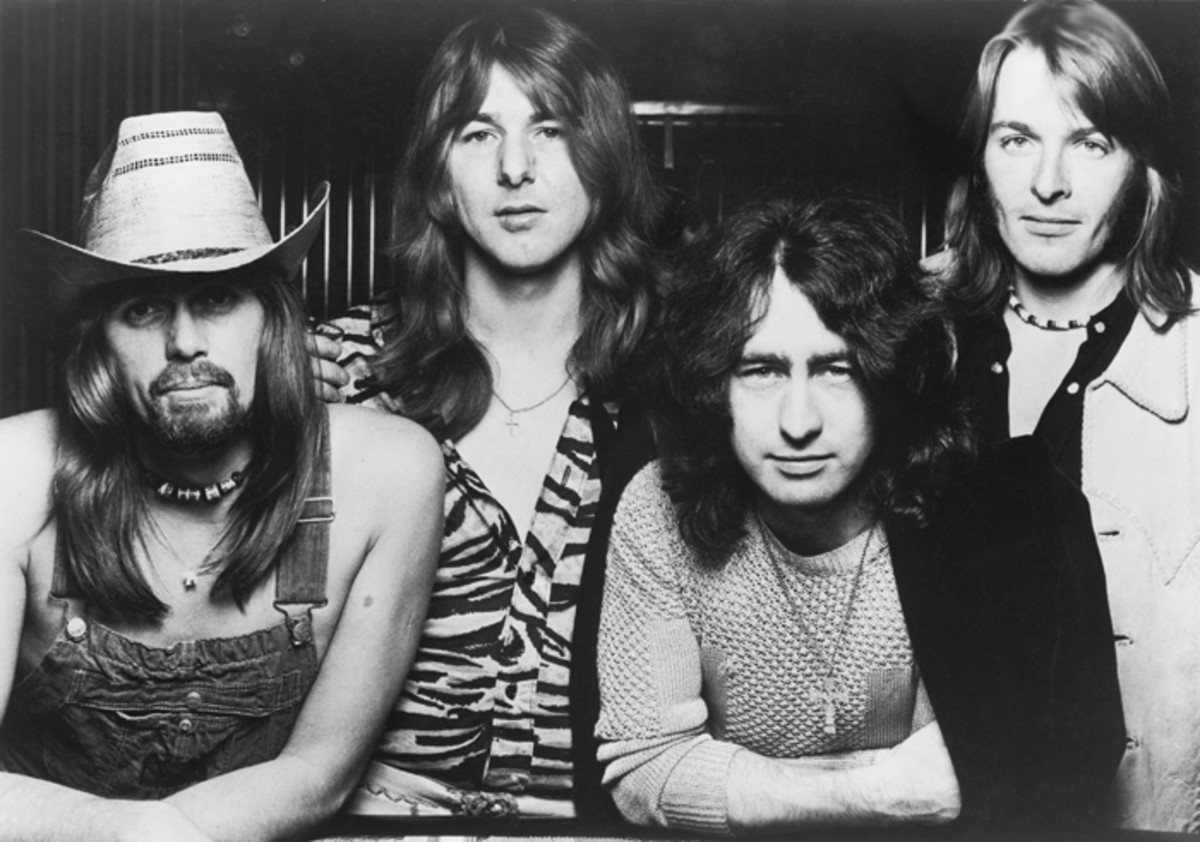"L to R, Boz Burrell, Mick Ralphs, Paul Rodgers and Simon Kirke. Publicity photo for ""Straight Shooter"" album."