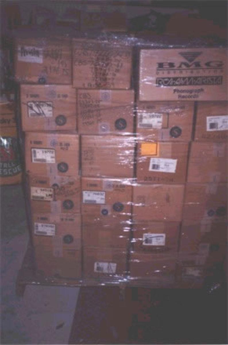 One of the twenty three pallets of records still in shrinkwrap