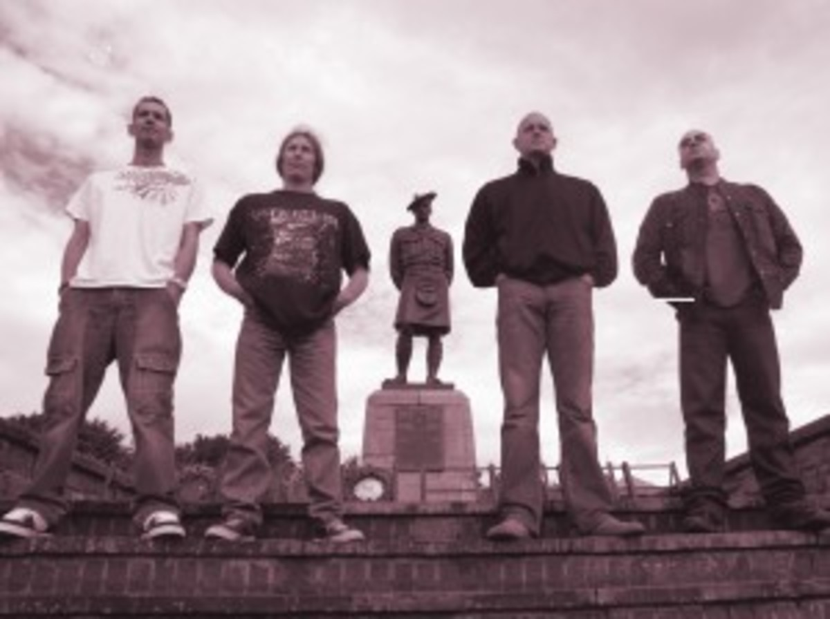 The Cundeez are (left to right) Alex Geddes (guitar), Tez Smith (drums), Gary Robertson (vocals and bagpipes), and Stevie McCall (bass guitar).