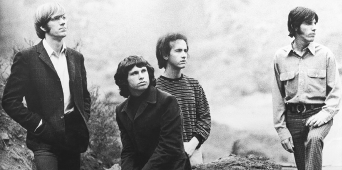 Being in a band with Jim Morrison wasn't easy, to say the least. Drummer John Densmore (upper left) recalls getting so fed up during sessions for 'Waiting For the Sun' that he threw his drumsticks in the air and quit. But the lure of the music was too great to resist; Densmore returned the next day. Bobby Klein photo.