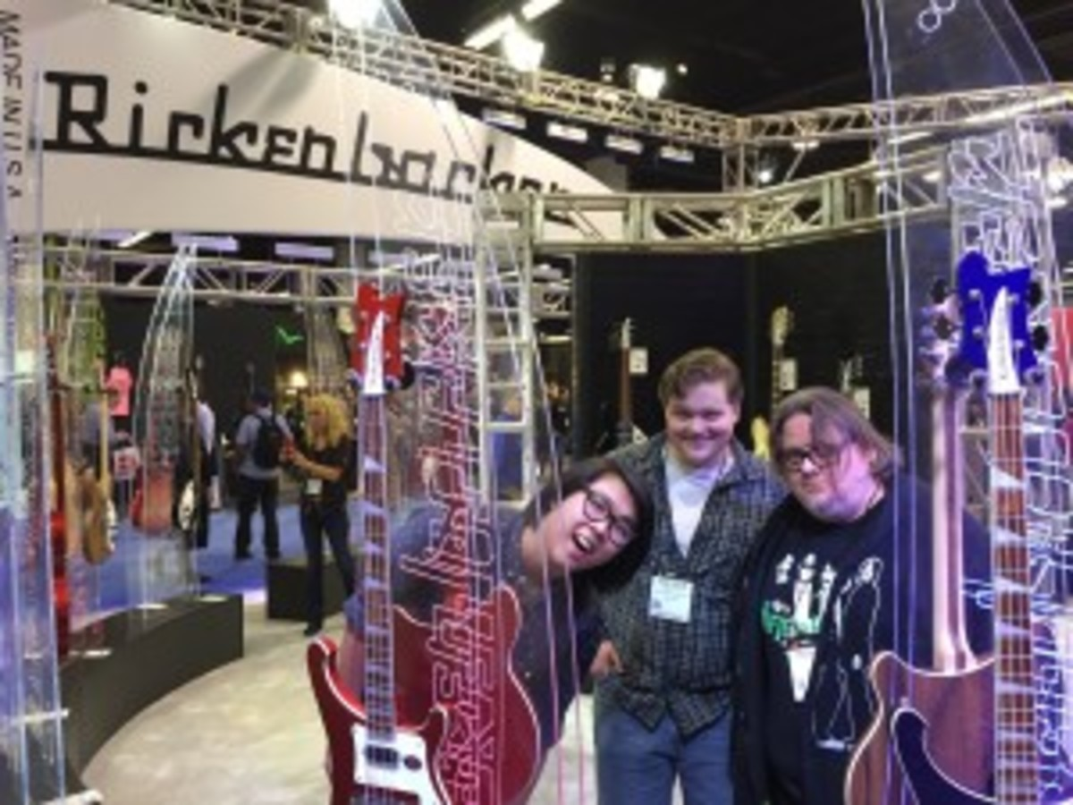 Southern California power pop group the Yorktown Lads visit the Rickenbacker booth.
