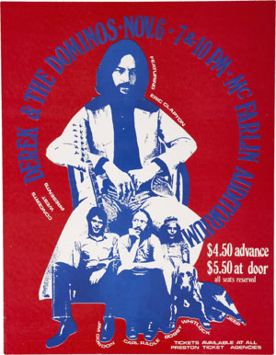 THIS VINTAGE HANDBILL of Derek & the Dominos at Southern Methodist University in 1970 sold at auction for $143.40 a year ago. This gig has been a highly sought bootleg recording for many years.
