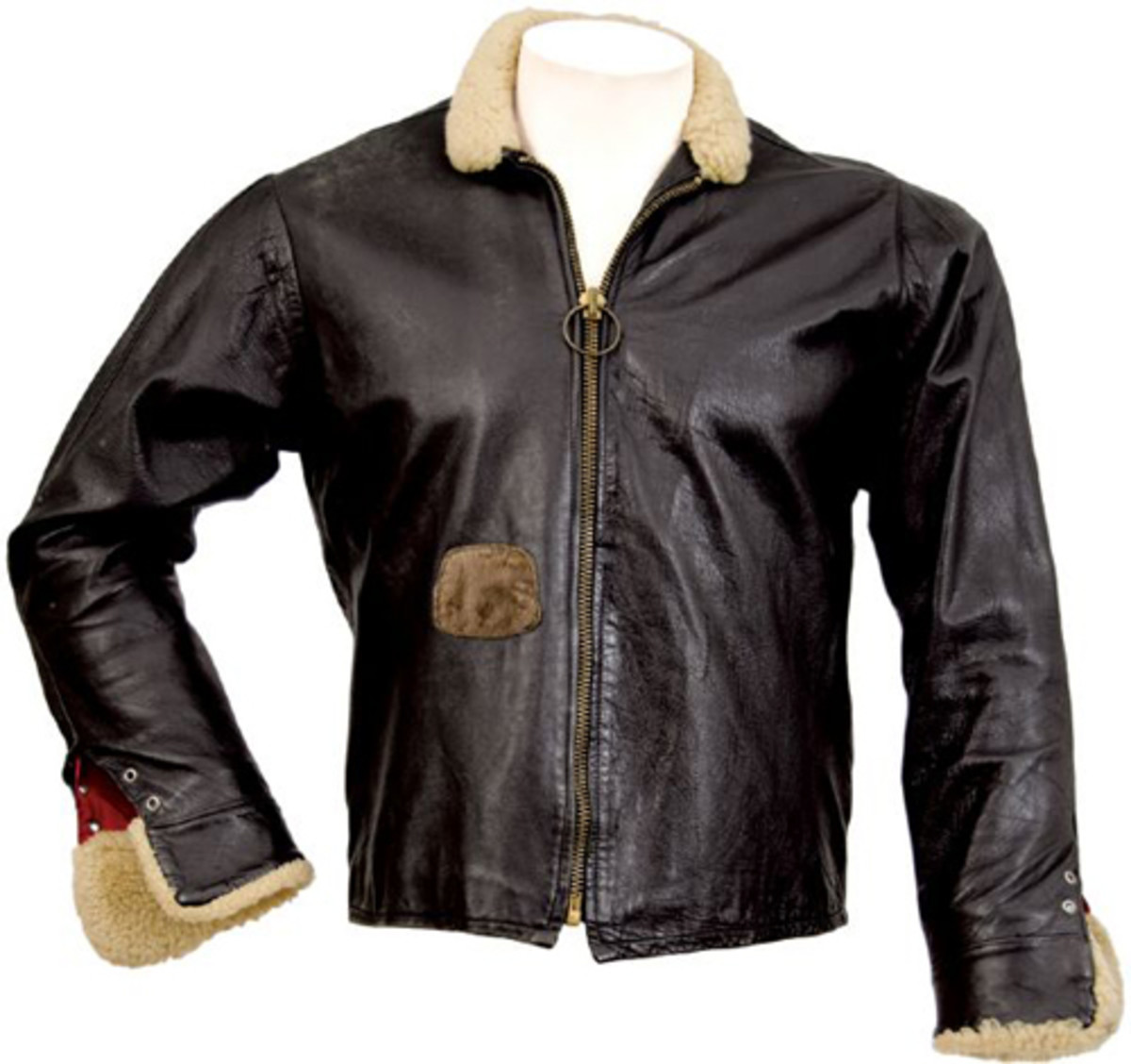 "Black leather bomber jacket Keith Richards wore for the Rolling Stones' album cover of ""High Tides and Green Grass."""