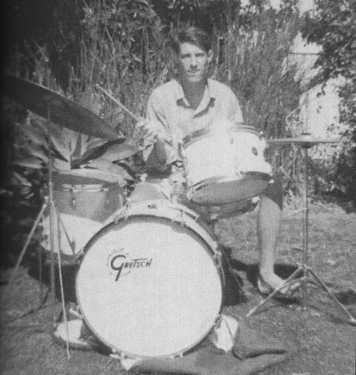 Being in a band with Jim Morrison wasn't easy, to say the least. Drummer John Densmore (shown here with his first drum kit) recalls getting so fed up during sessions for 'Waiting For the Sun' that he threw his drumsticks in the air and quit. But the lure of the music was too great to resist; Densmore returned the next day. Photo courtesy John Densmore Facebook page.