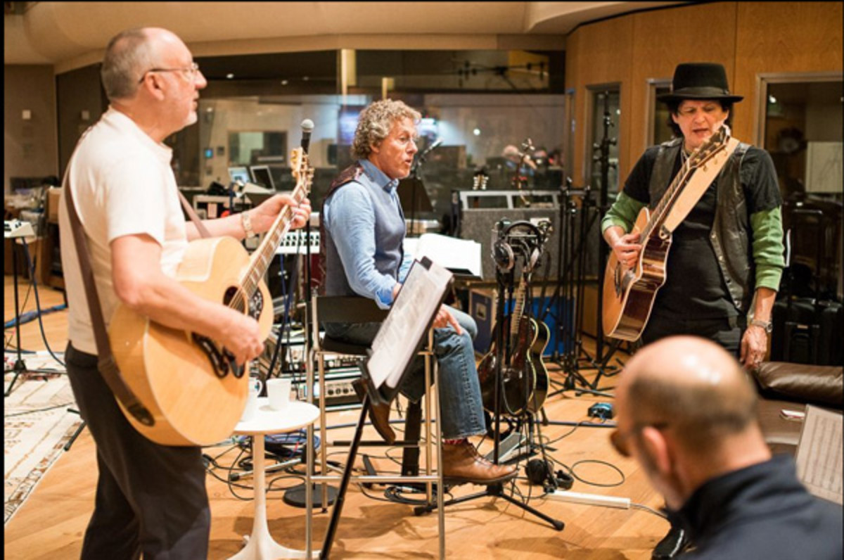 Pete Towshend and Roger Daltrey at the rehearsal studio with their musical director, Frank Simes. Photo courtesy of Frank Simes.