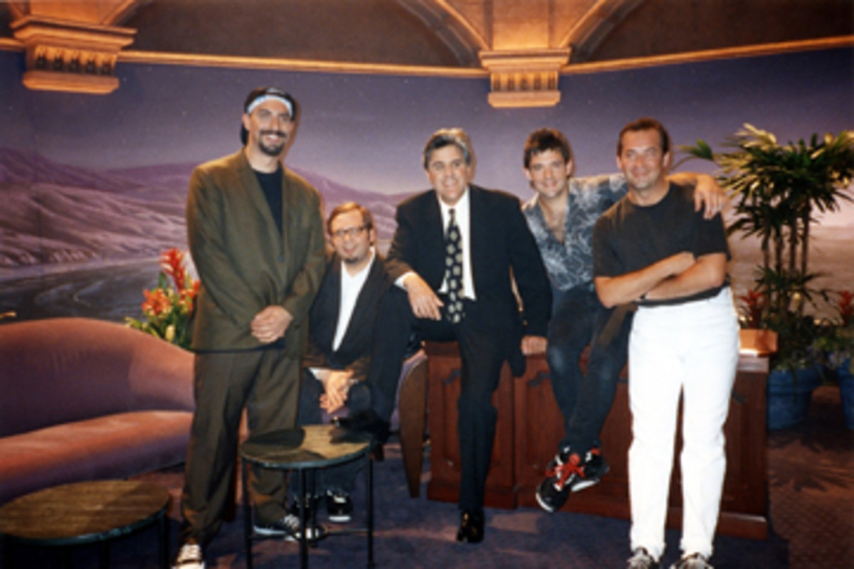 The Smithereens at the Tonight Show (Left to Right: Pat DiNizio, Dennis Diken, Jay Leno, Mike Mesaros and Jim Babjak)