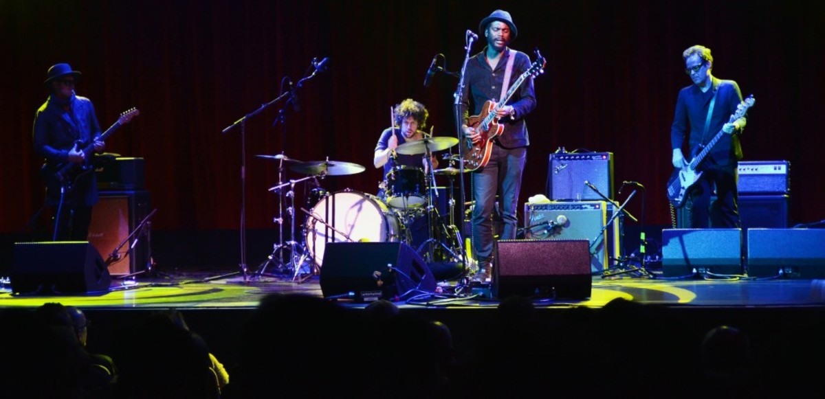 """From left to right: Eric """"King"""" Zapata, Johnny Radelat, Gary Clark Jr. and Johnny Bradley in action Oct. 19 at the Borgata casino's Music Box theater in Atlantic City, N.J. (Photo by Chris M. Junior)"""