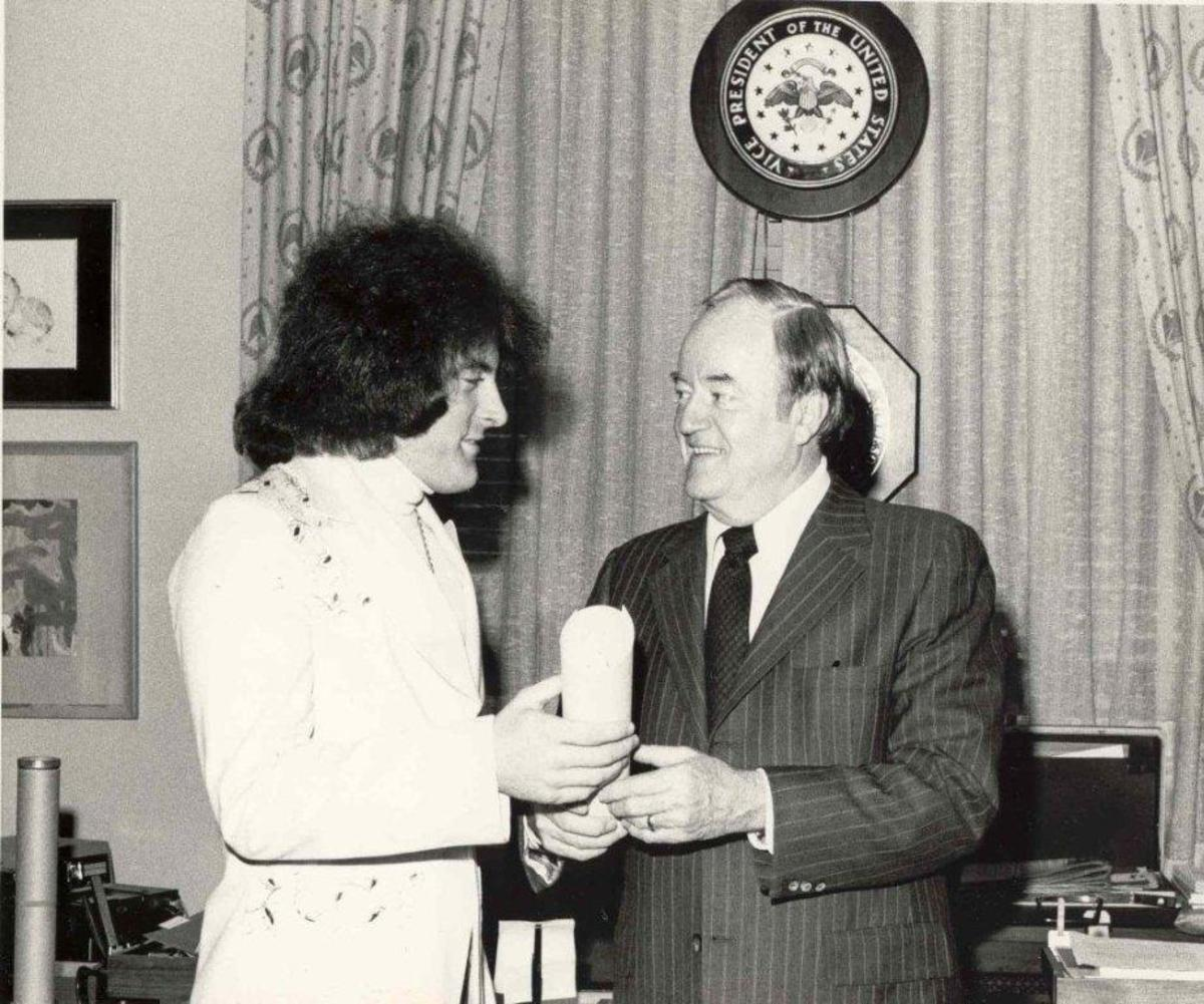 """FROM POLITICIANS, including Hubert H. Humprhey (above), with whom James spent time on the campaign trail, to alleged mobsters, Tommy James has known his share of colorful people throughout his music career. Humphrey even wrote liner notes for """"Crimson and Clover."""" Photo courtesy Tommy James"""
