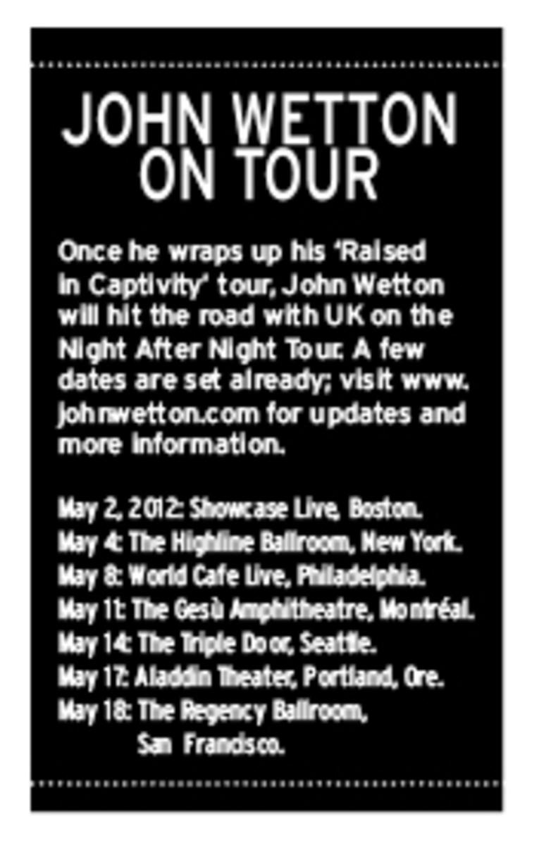 John Wetton sets 2012 tour dates