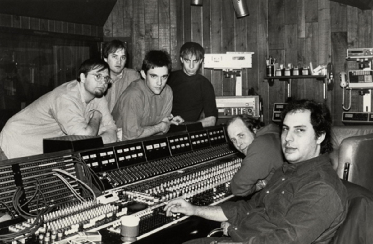 For 1983's 'Beauty and Sadness' sessions at The Record Plant, The Smithereens (from left) Dennis Diken, Jim Babjak, Mike Mesaros and PatDiNizio recruited engineer Jim Ball (rear right), who had worked on albums with John Lennon, The Go-Go's, and producer Alan Betrock (front right), who had worked on early efforts by Blondie and Marshall Crenshaw.