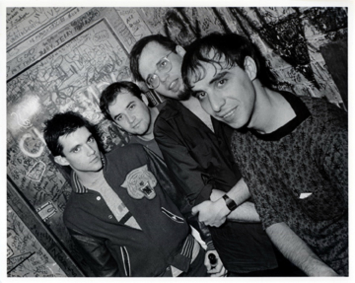 """The """"classic"""" Smithereens lineup (from left) Mike Mesaros, Jim Babjak, Dennis Diken and Pat DiNizio hang out backstage."""