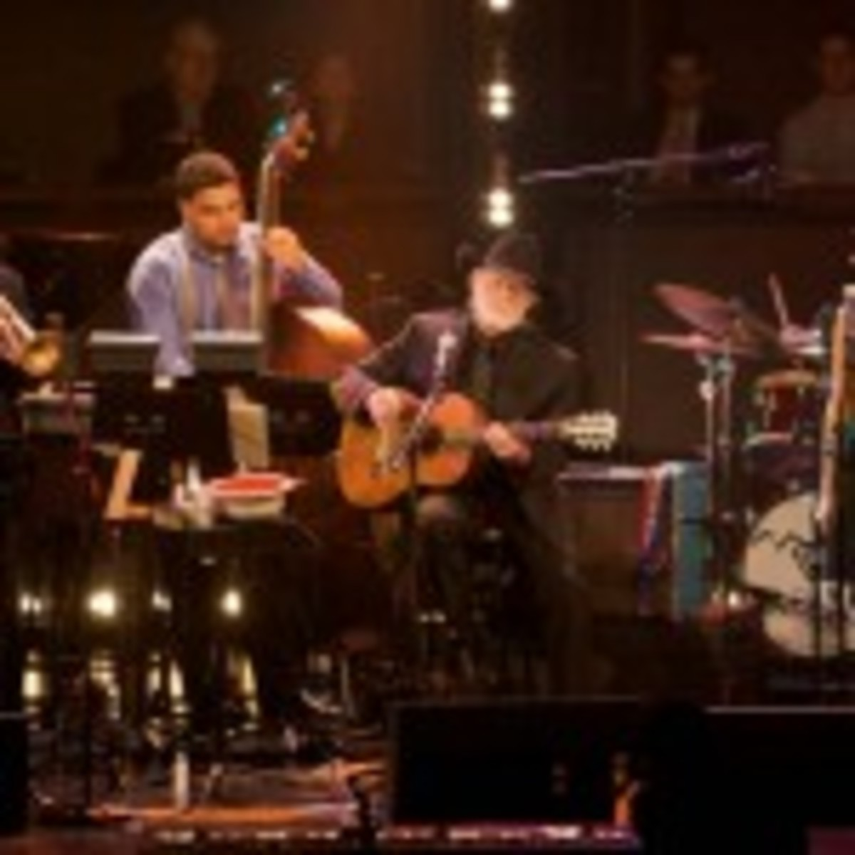 Wynton Marsalis (far left) performs with Willie Nelson (center) and Norah Jones (second from right). (Photo courtesy of Blue Note)