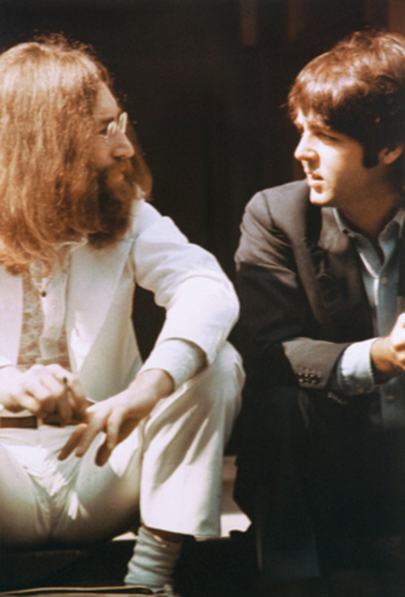 Tensions seem evident in this 1969 photo shot during the Abbey Road cover session. Photo by AP Photo/Linda McCartney