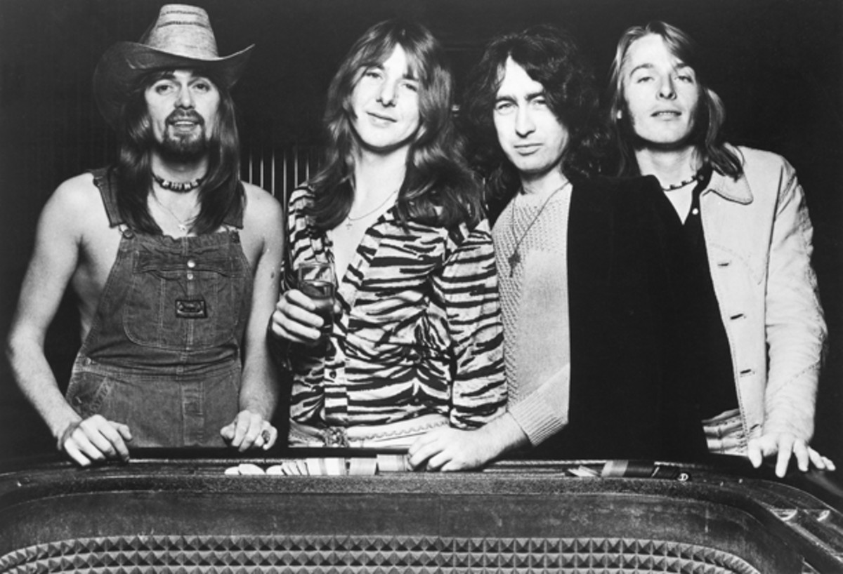 The classic Bad Company lineup of the 1970s featured (from left) bassist Boz Burrell, guitarist Mick Ralphs, vocalist Paul Rodgers and drummer Simon Kirke. Swan Song Publicity photo.